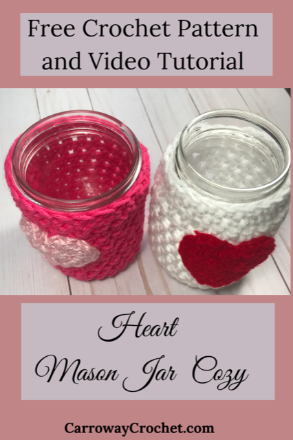 Heart Mason Jar Cozy by Carroway Crochet